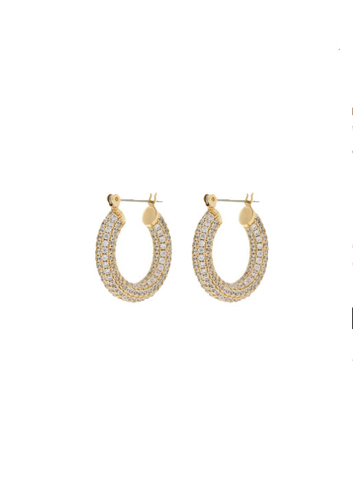 Pave Baby Amalfi Hoops Gold