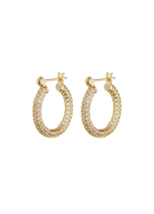 Pave Skinny Baby Amalfi Hoops - Gold
