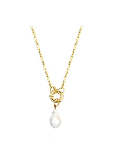 Antique Lock Necklace with Baroque Pearl Pendant
