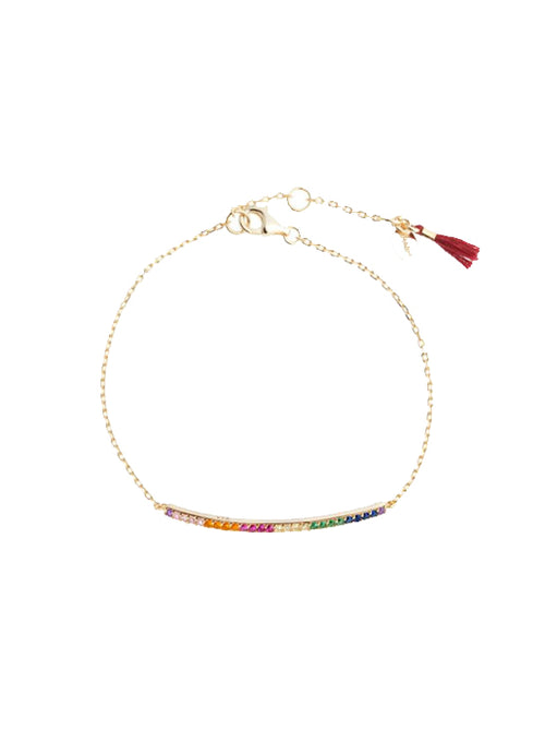 Bar Pave Bracelet Rainbow