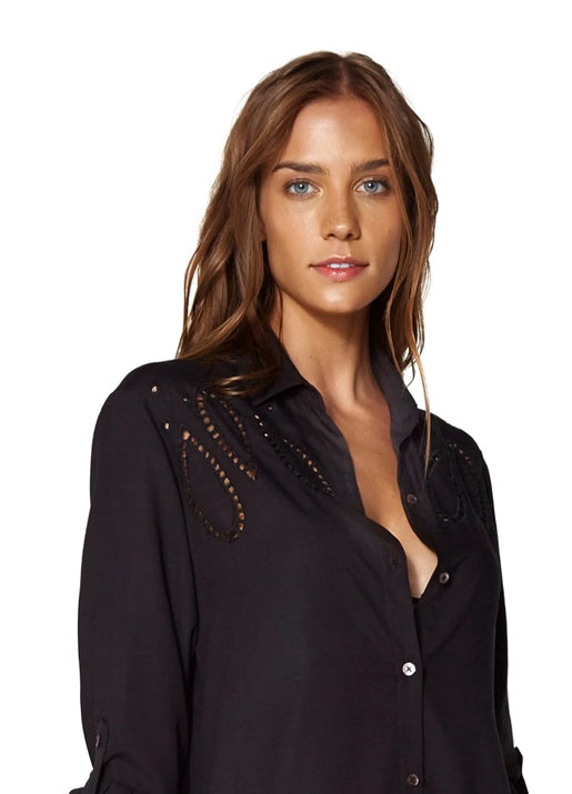 Black Embroidery Ada Chemise