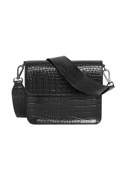 Cayman Shiny Strap Cross Body Bag - Black