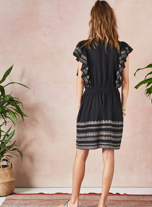 Alli Embroidered Frill Dress