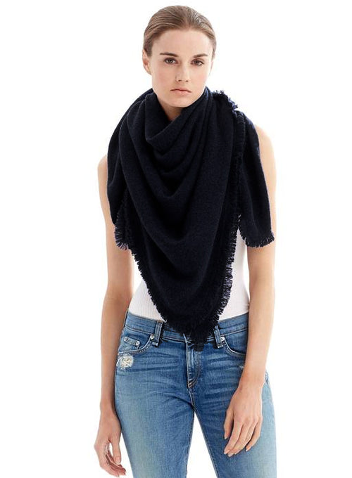 Fringe Cashmere Mini Travel Wrap Black