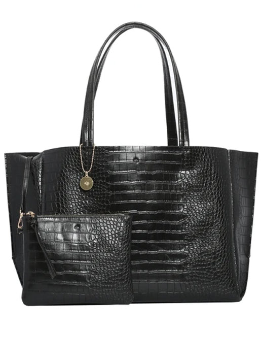 Large Tote -  Black Croc Effect