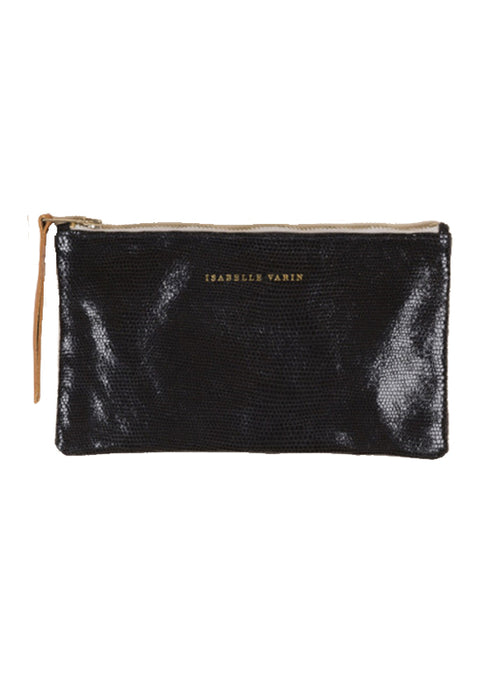 Lizard Finish zip pouch - Black