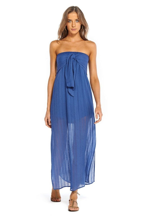 Klein Tess Strapless Dress Blue