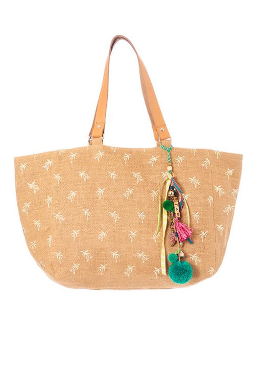 Alohi Palm Print Jute Tote - Natural