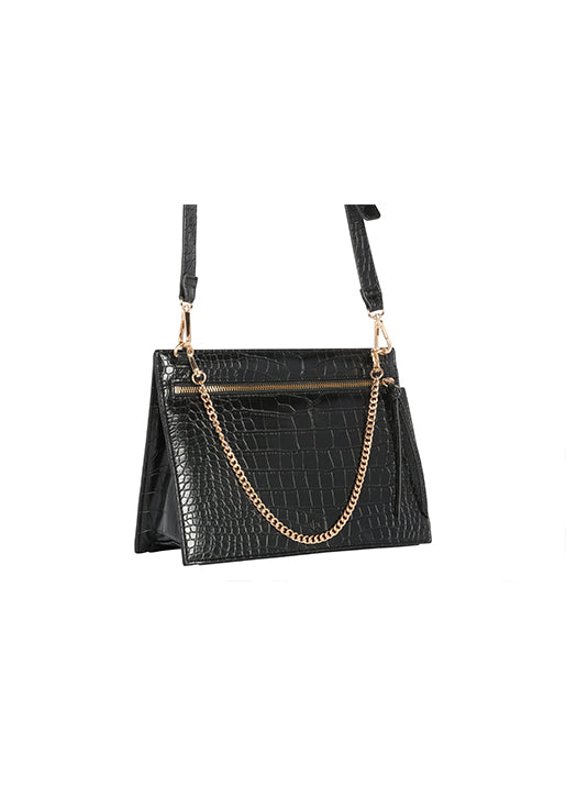 Croc Handbag with Chain and Strap