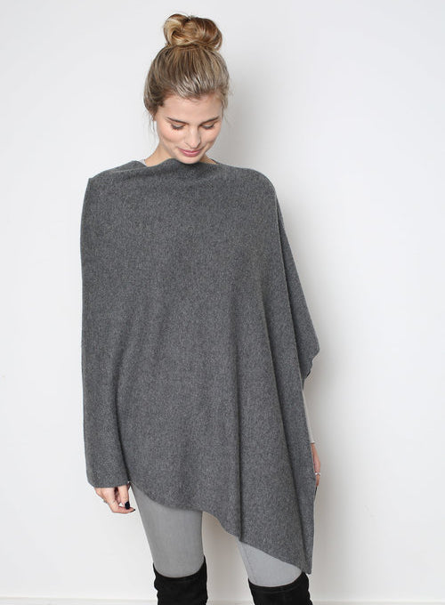 Cashmere Poncho - Charcoal