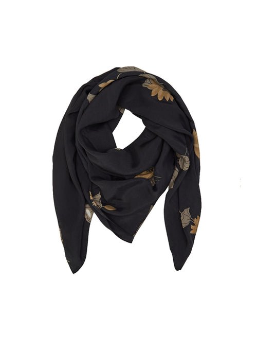 Lotus Print Scarf - Faded Black