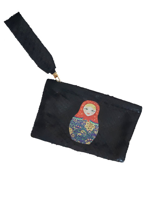 Black Python Screen Print Zip Pouch Russian Doll