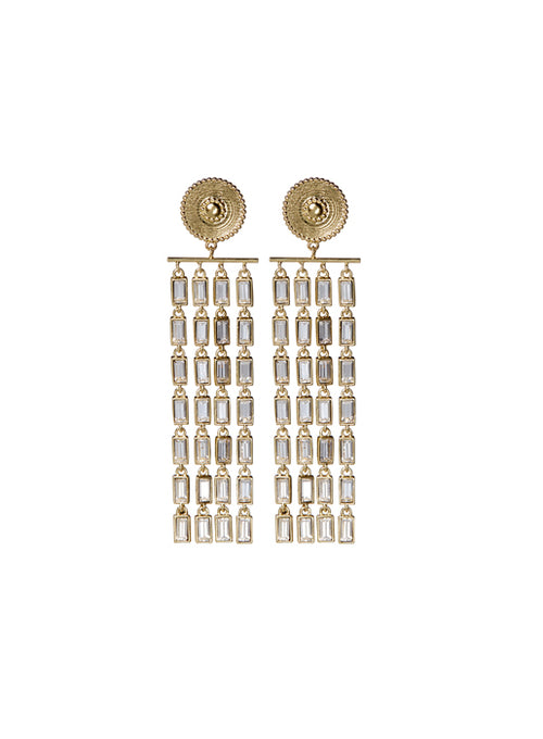 Baguette Drop Statement Earrings