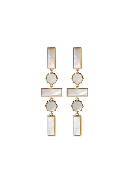 Mother of Pearl Mosaic Drop Earrings