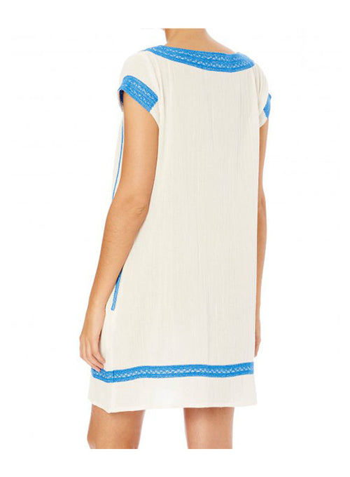 Evie Embroidered Dress - Blue