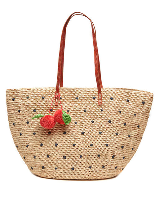 Florence Raffia Tote with Navy Dots
