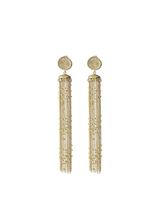 Pave Coin Fringe Earrings