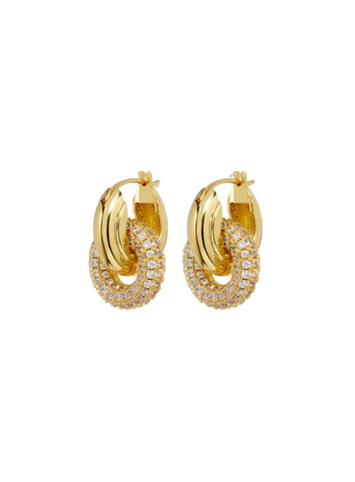 Pave Interlock Hoops - Gold