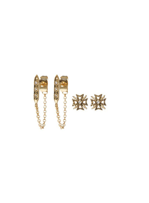 The Fleur & Spike Stud Set - Gold
