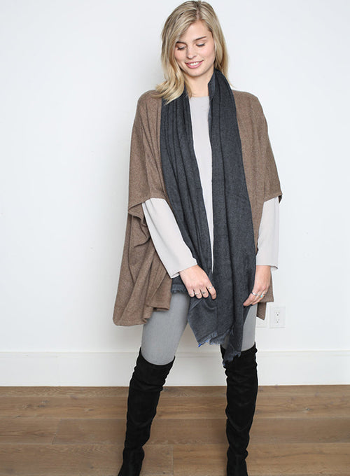Cashmere Woven Frayed End Scarf - Charcoal
