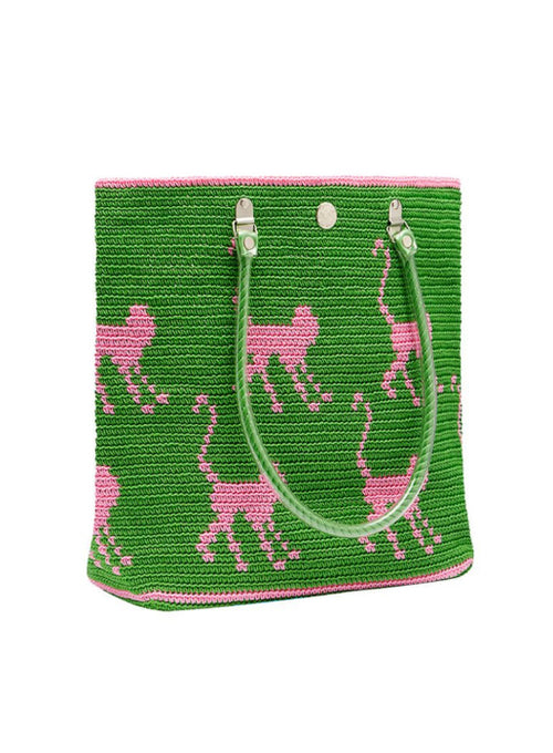 Monkey Tote Green & Pink