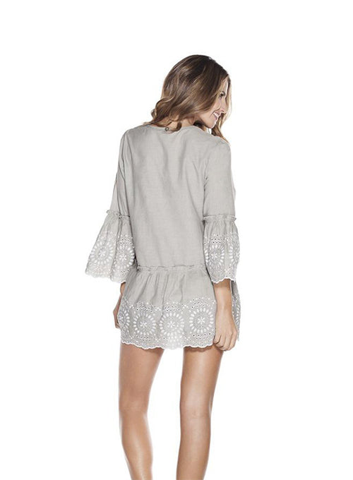 Grey cotton eyelet tunic