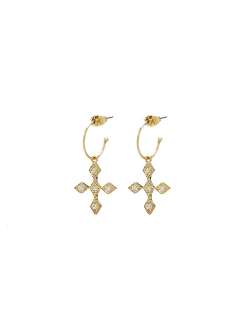 Diamond Kite Cross Hoops - Gold