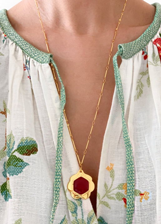 Lili Necklace Red Jade
