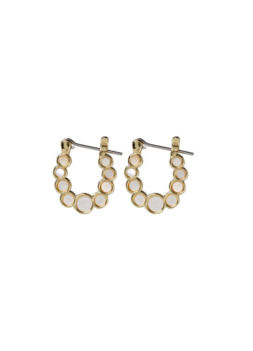 Mini Mother of Pearl Circle Hoops