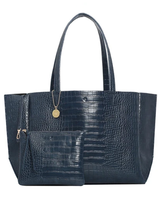 Large Tote -  Navy Croc Effect