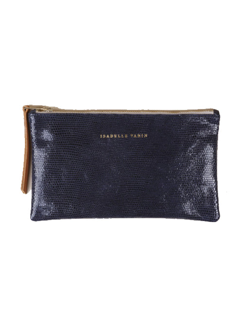 Lizard Finish zip pouch - Navy