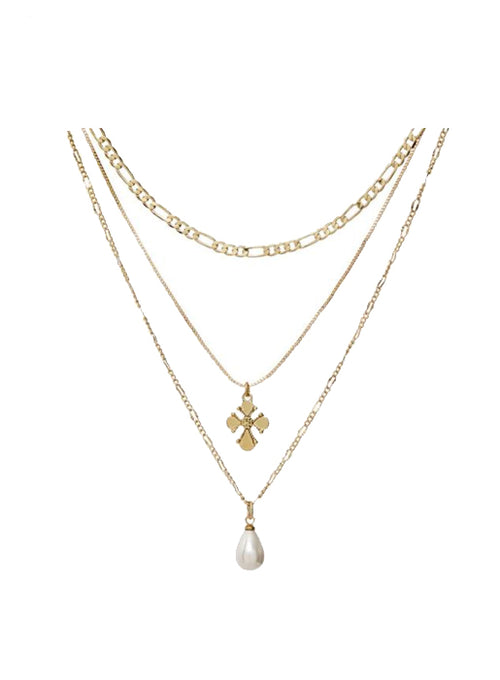Nouveau Cross and Freshwater Pearl Charm Necklace