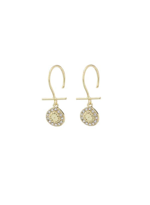 Mini Pave Coin Hook Earrings