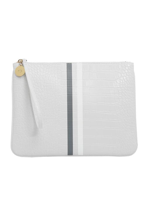Editors Pouch White Croc Stripe