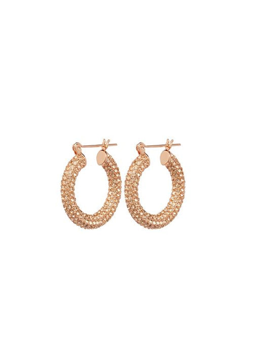 Pave Baby Amalfi Hoops Rose Gold & Lt. Peach Crystal