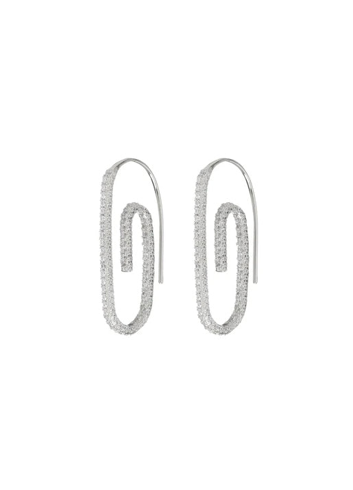 Pave Paperclip earrings