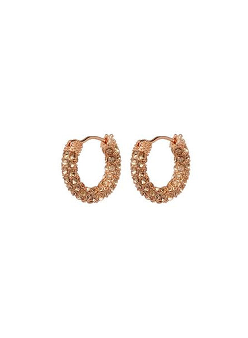 Pave Amalfi Huggies Rose Gold with Lt. Peach crystal