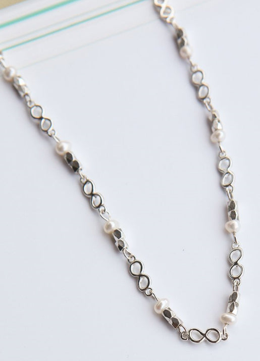 Pearl Infinity Necklace - Silver