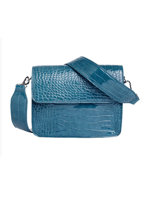 Cayman Shiny Strap Cross Body Bag - Petroleum
