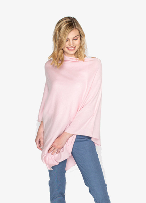 Cashmere Poncho - Pink