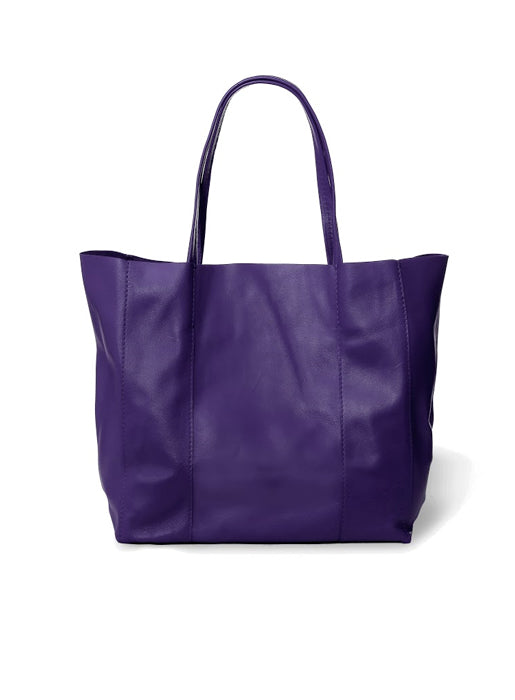 Leather Tote - Purple