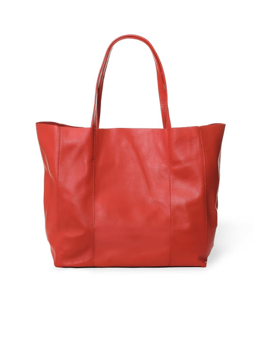 Leather Tote - Red