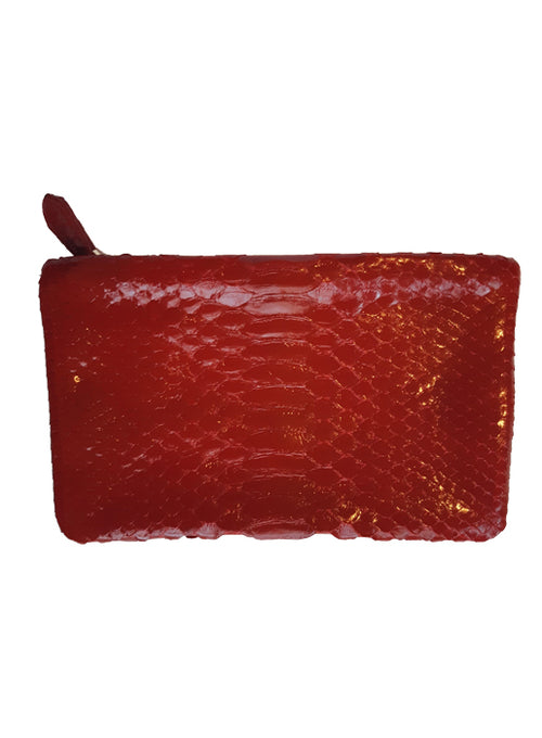 Shiny Red  Python Zip Pouch