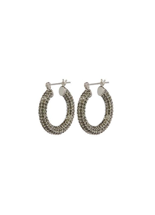 Pave Baby Amalfi Hoops Silver & Black Diamond