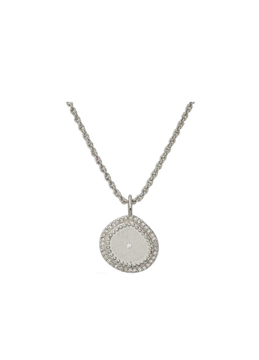 Pave Coin Charm Necklace Silver