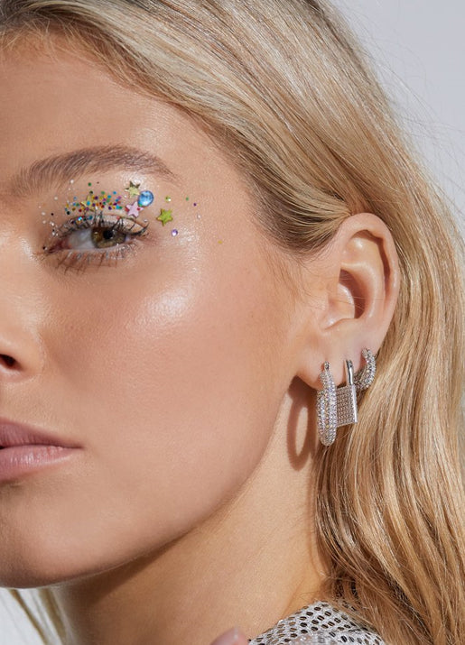 Pave Baby Amalfi Hoops Silver & Rainbow Crystals