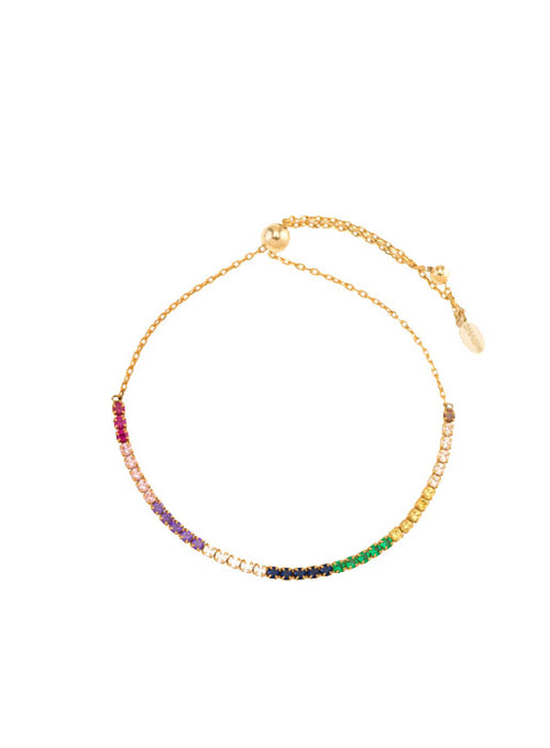 Diamond Bar Slide Bracelet - Rainbow