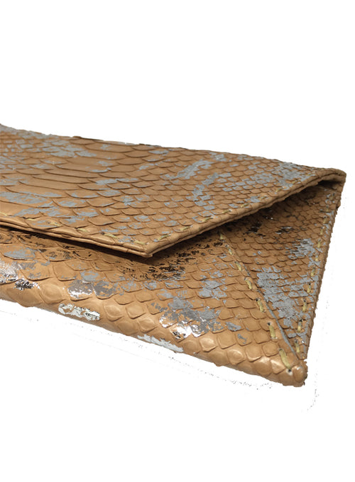Snakeskin Envelope Clutch Light Bangka with Silver Foil