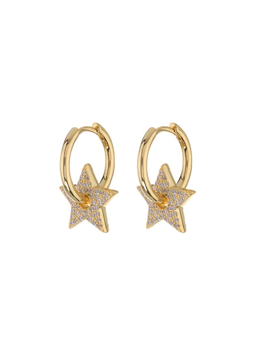 Pave Star Charm Hoops - Gold
