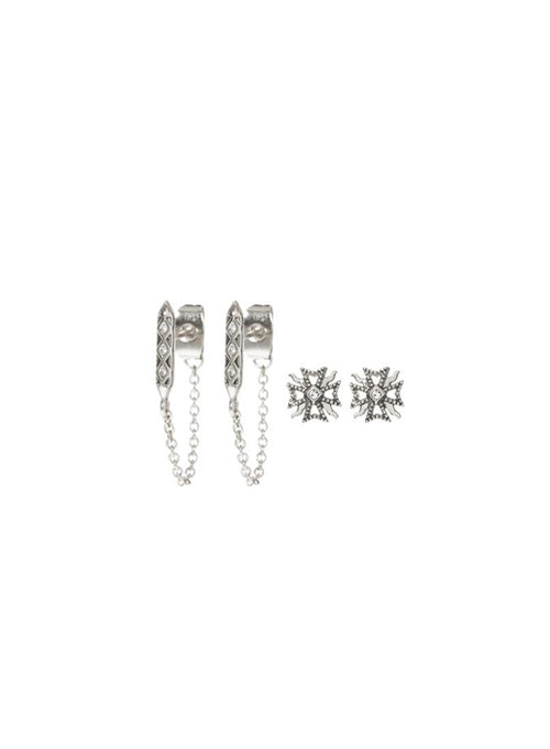 The Fleur & Spike Stud Set - Silver